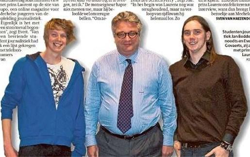 Prins Laurent feliciteert Mechelse studenten voor interview