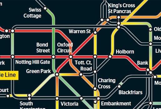 Hitte Londense metro in kaart gebracht