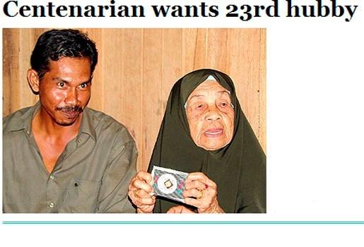 Maleisische van 107 op zoek naar haar 23ste man