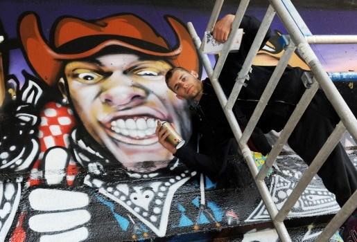 Graffitiartiesten treffen elkaar in Park Spoor Noord