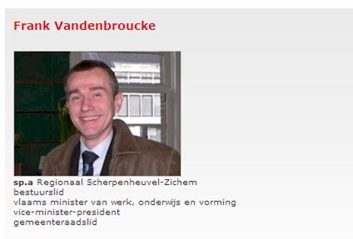 Vandenbroucke nog steeds minister (volgens de sp.a-website)