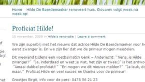 Hilde De Baerdemaeker zwanger van tweeling