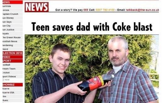 Zoon met fles cola redt leven van Britse man