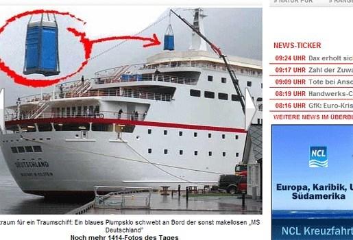 Cruiseschip met...mobiele toiletten