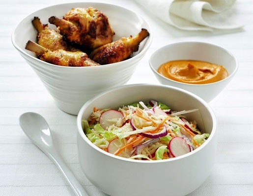 Amerika: Krokante kippenboutjes met coleslaw