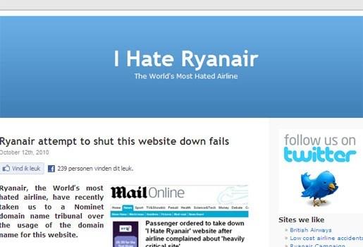 """Ryanair niet blij met """"Ik haat Ryanair""""-website"""