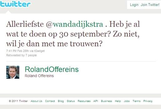 Nederlandse tjeef vraagt vriendin via Twitter ten huwelijk