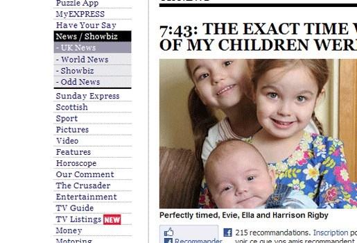Drie kinderen van mama Lowri geboren om 7u43