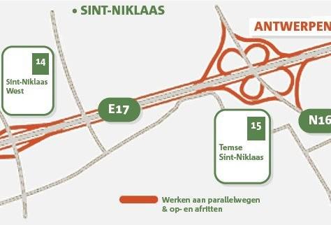 Op- en afritten E17 dicht voor asfalteringswerken