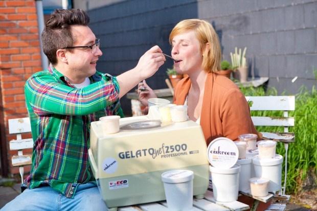 Eiskreem verkoopt abonnement voor ijs