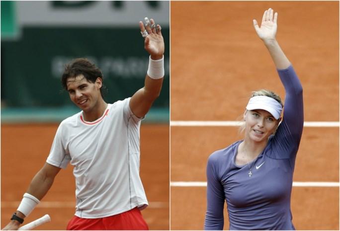 Titelverdedigers Nadal en Sharapova ronde verder