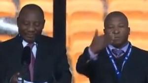 Dovengemeenschap verbolgen over valse tolk bij ceremonie Mandela (video)