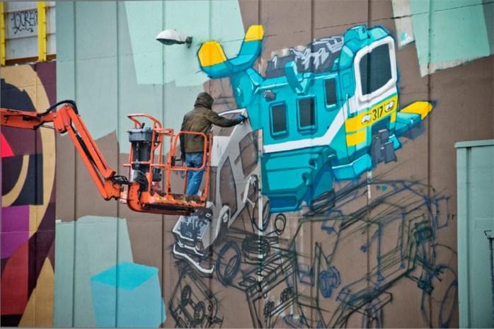 Antwerpen-Luchtbal opgefleurd met graffitikunst