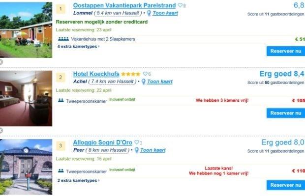 Booking.com misleidt bezoekers