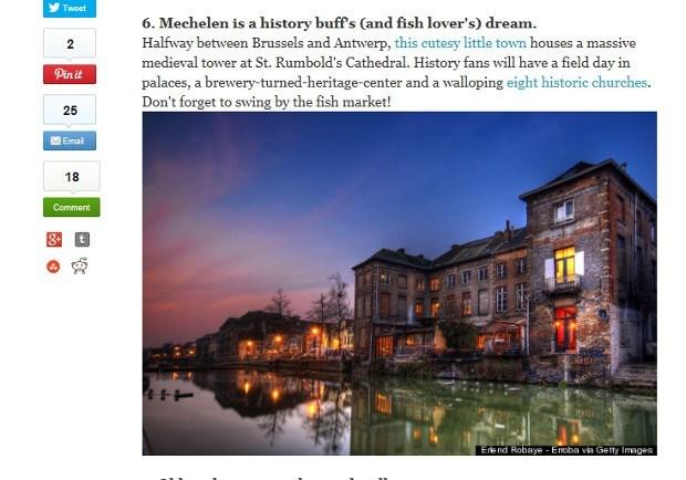 Amerikaanse nieuwssite lovend over Mechelen