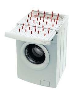 Wasmachine met ingebouwde droogplank